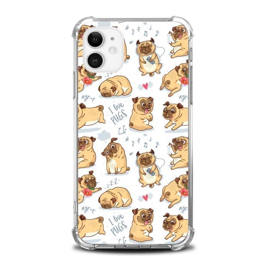 Cover per iPhone - I Love Pugs